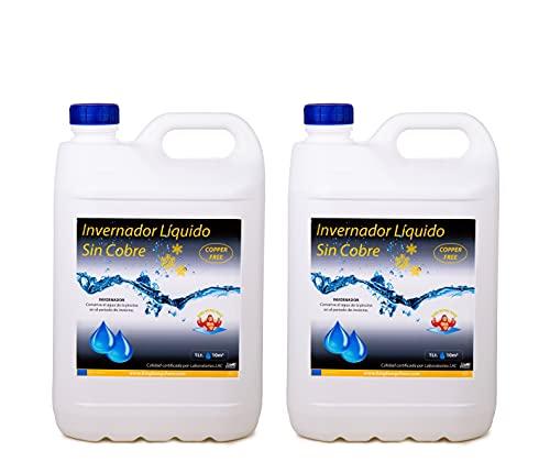 Pack 2 UDS - INVERNADOR LÍQUIDO SIN Cobre 10 litros (2x5 L.) - Desinfectante y Algicida para el Tratamiento de Piscinas en Invierno - Apto Piscinas Liner