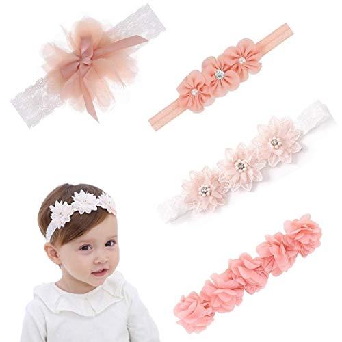 Baby Stirnbänder, 4 Stück Baby Haarband Baby Mädchen Kids Turban Haarband Stirnband Kopfband Baby schmuck, Blumen Blüte Haarschmuck, Babygeschenke Taufe Geschenksets