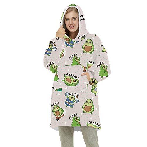 ZWW Sudadera con capucha de gran tamaño, unisex, suave, cálida, gruesa, con manga y bolsillo | Cómodo jersey reversible, aguacate, adulto