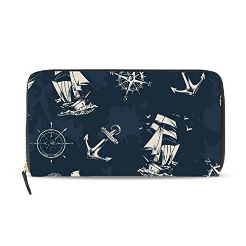 iRoad - Cartera de cuero con diseño retro de ancla, timón y barco, tarjetero y bolsillo para monedas, personalizable, para mujeres y niñas