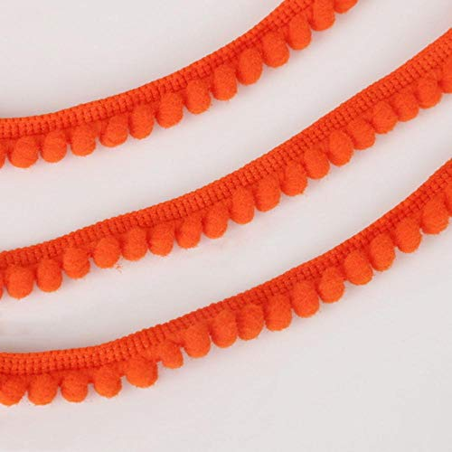 Hot Sale 5 Yards Pom Pom Trim Ball 10 mm MINI Pearl Pompom Fringe Ribbon naaien Lace Kintted stof handgemaakte Craft accessoires, oranje rood