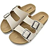 ONCAI Women's-Slide-Sandals-Beach-Slippers-Arizona Slippers Shoes Indoor and Outdoor Anti-skidding Flat Cork Sandals and Footbed with Two Adjustable Straps