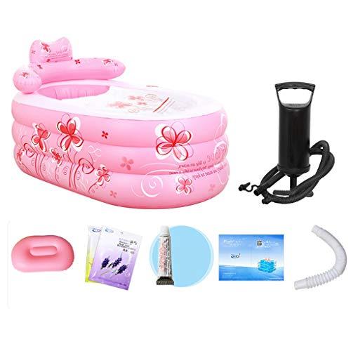 WJP Druck Tragbarer Whirlpool, Tragbare Faltbare aufblasbare Badewanne, Faltbare Kunststoffwanne, 130 × 75 × 70 cm - 2 Farben Optional (Farbe : Rosa, Größe : 130×75×70cm)