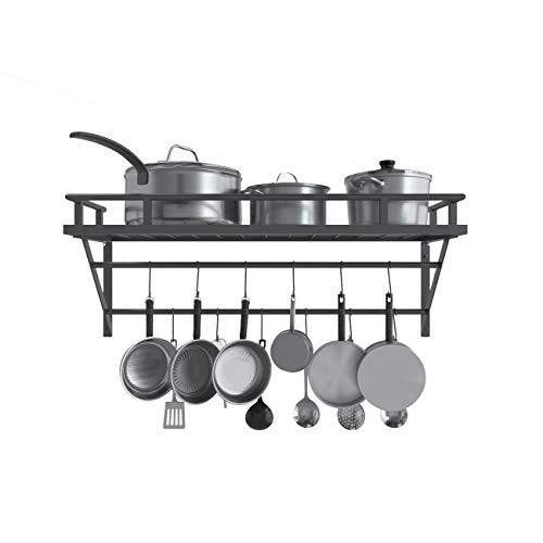 KES Wall Mounted Pot Pan Rack with 2 Bars and 12 Hooks for Kitchen 30 Inch Metal Pot Pan Shelf Matte Black KUR216S75BK
