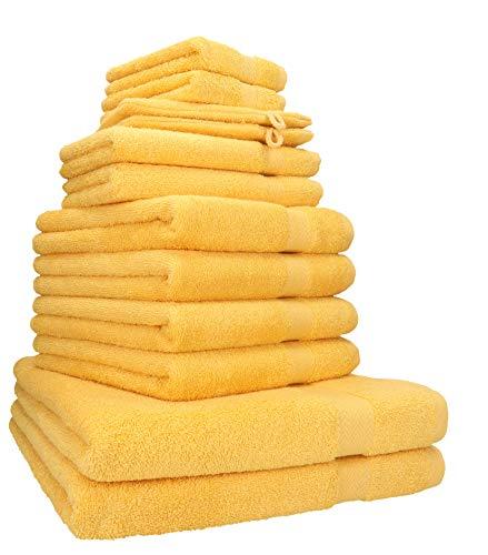 Betz Juego de 12 Toallas Premium 100% algodón Color Amarillo Miel