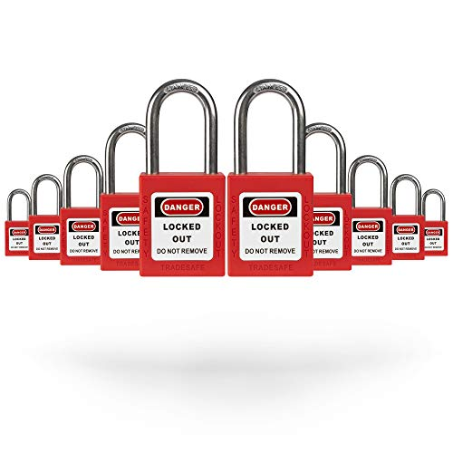 TRADESAFE Lockout Tagout Locks – 10 Loto Locks Keyed Differently – Lock Out Tag Out Padlocks Set– 1 Key Per Lock – Red – Lockout Tagout Station Refill – A USA Company