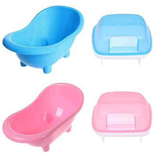 4 Stück Hamster-Badewanne und Saunahaus, Hamster Badewanne, Haustier Hamster Badezimmer, für Kleine Tiere, Chinchilla, Hamster, Wüstenmaus (Blau + Rosa )