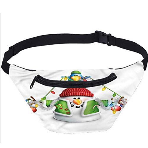 Snowman Fanny Pack Bag,Cartoon Xmas Elements Running Travel Sports Bags for Festival Rave