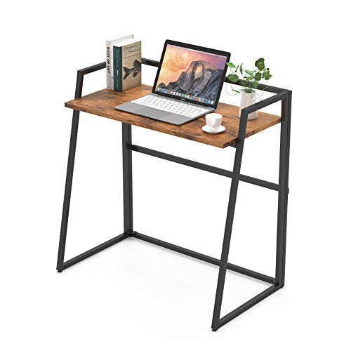 Eureka Ergonomic Folding Computer Desk 33 inch Foldable PC Writing Desk Table for Home Office Small Space with Adjustable Feet, No Assembly Required Brown