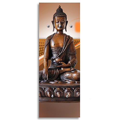 Feeby, Deco Panel Aufhänger, Kleiderhaken, Wandgarderobe, Garderobe, Wandecor Bilder mit hänger, 5 Haken, Buddha, Kultur, MODERN, Zen, BRAUN