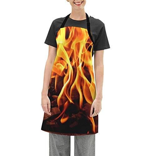 N\A Round Black Metal Fire Pit Apron Cooking Apron Waterproof Adjustable Kitchen Apron Baking Apron for Women Men