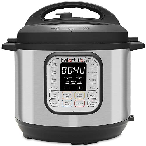 Instant Pot Duo 80 7-in-1 Electric Pressure Cooker, Slow Cooker, Rice Cooker, Steamer, Saute, Yogurt Maker, and Warmer, 8-QT, Stainless Steel/Black