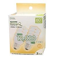 オーム電機 電球形蛍光灯 エコデンキュウ スパイラル形 E26 60形相当 電球色 2個入 [品番]06-0243 EFD15EL/12-SPN-2P