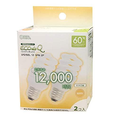 オーム電機 電球形蛍光灯 E26 スパイラル形 60形相当電球色 エコデンキュウ 2個_EFD15EL/12-SPN-2P 06-0243 OHM