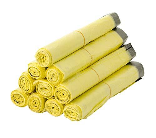 BigDean 10 Rollen Gelber Sack, Gelbe Säcke 90 Liter HDPE Gelb 13 Stück pro Rolle, insgesamt 130 Stück - ca. 60x87 cm Plus 5 cm Umschlag 15my - Ideal für Mülltonnen, Mülleimer und Körbe