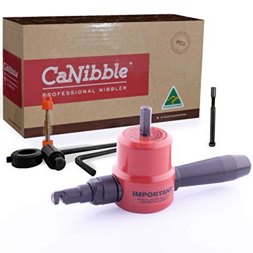 CaNibble Profi Nibbler mit geradem und kreisförmigem Schneidaufsatz zum Befestigen an Bohrmaschinen für multidirektionales Schneiden