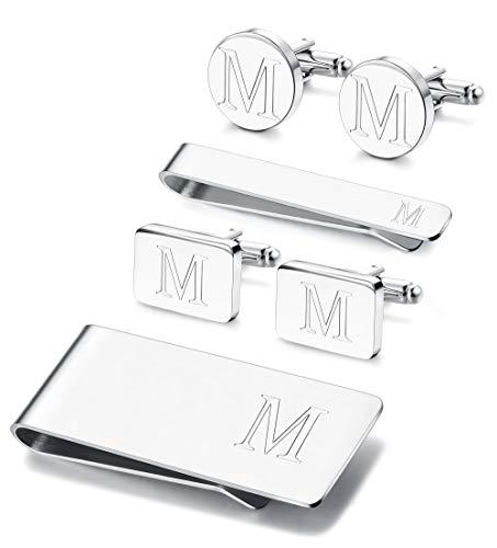 JOERICA 6 PCS Engraved Initial Cufflinks Tie Bar Money Clip Set Shirt Alphabet Letter Wallet Tie Clip and Cufflink Set