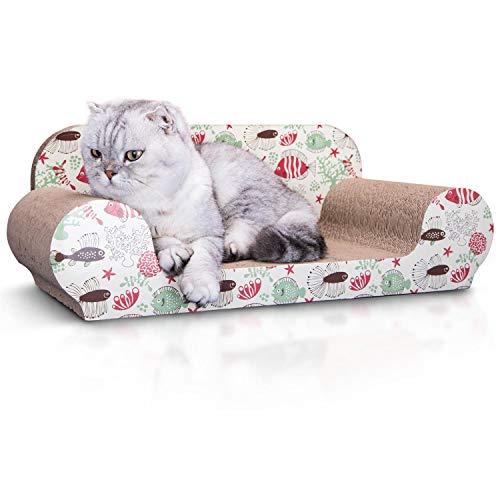 Nobleza - Katzenkratzbrett mit Katzenminze Kratzbrett für Katzen Kätzchen Kratzspielzeug Lounge Kartonkratzer 56 * 26 * 20 cm