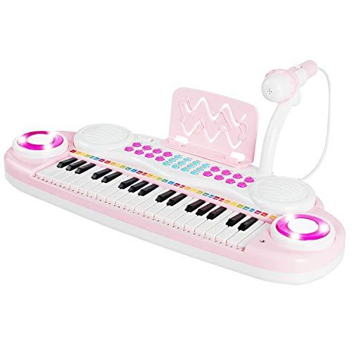 COSTWAY 37 Tasten Klaviertastatur, Kinder Keyboard, Klavier Spielzeug elektronisch, Musikinstrument mit Aufnahme- und Abspiel-Funktion, inkl. Mikrofon und Musikpartitur (Rosa)