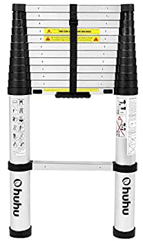 Ohuhu 12.5 FT Aluminum Telescoping Ladder One-Button Retraction Extension Ladder Collapsible Ladders with Spring Loaded Locking Mechanism Telescopic Compact Ladders for Home 330 Pound Capacity