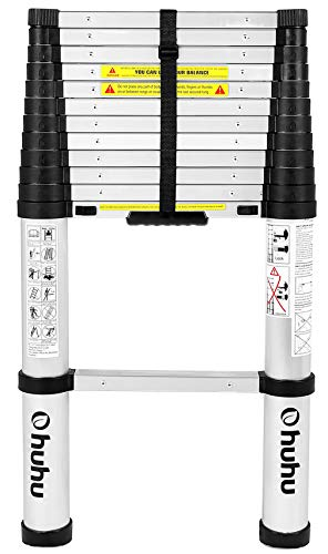 Ohuhu 12.5 FT Aluminum Telescoping Ladder, One-Button Retraction Extension Ladder, Collapsible Ladder with Spring Loaded Locking Mechanism for Roof, 330 Pound Capacity