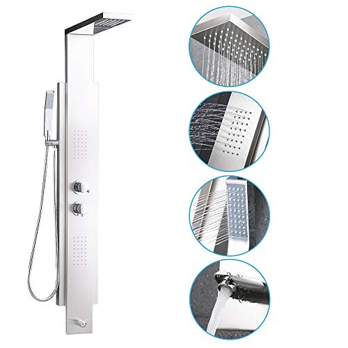 KES SUS 304 Stainless Steel Rainfall Shower Panel Thermalstatic Faucet 4-Function Rain Massage System with Jets, Hand Shower and Side Spray Brushed Nickel Fingerprint-free, XPM2500-2