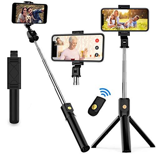 HOMEDII T08 Selfie Stick Tripod, Extendable Bluetooth Stand with Wireless Remote Shutter for Android, iPhone 11/11 Pro/XS Max/XR/X/8/7(ONLY Horizontal Photograph)
