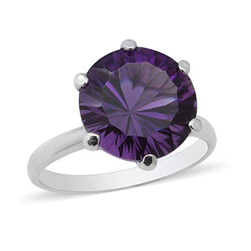 TJC Natural Amethyst Solitaire Ring for Womens in 925 Sterling Silver Valentine's Day Gift/Engagement Jewellery Size R, TCW 5.8ct