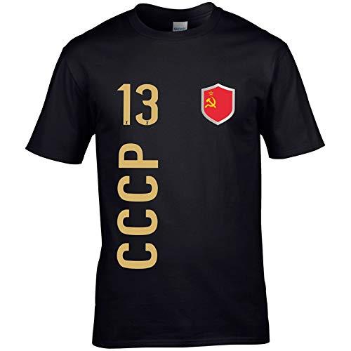 FanShirts4u Herren Fan-Shirt Jersey Trikot - UDSSR/CCCP - T-Shirt inkl. Druck Wunschname & Nummer WM EM (S, CCCP/schwarz)