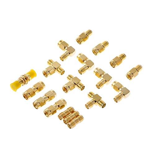 furong 18 Piezas de SMA Connector Kits Hombre Mujer Enchufe de la Antena del convertidor del Adaptador coaxial Conjunto