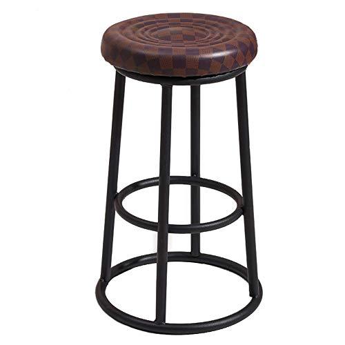 Taburete de bar moderno para cocina con altura para desayuno, asiento tapizado de poliuretano con reposapiés, para sillas altas, patas de metal, 60/70 cm