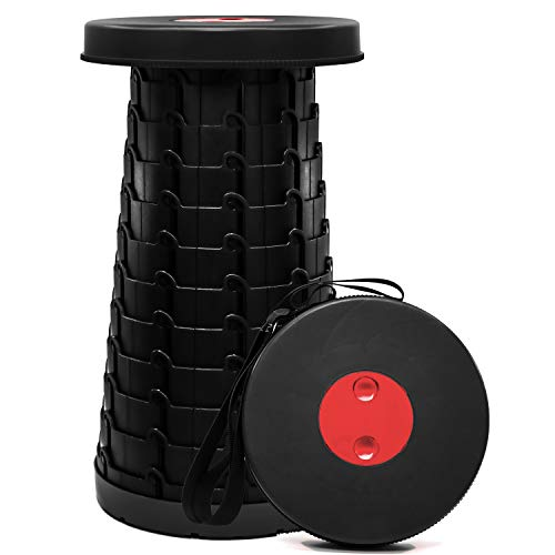 Retractable Folding Telescoping Stool Sturdy amp Lightweight with 400lbs Load Capacity Excellent for Kids Adult Picnic Camping Fishing Hiking Beach Black