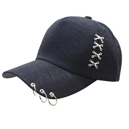 suoryisrty Gorra de béisbol Mujer Hombre Gorra de béisbol Unisex Punk Rock Hip Hop Street Style Ajustable Algodón Snapback Trucker Sombrero Negro
