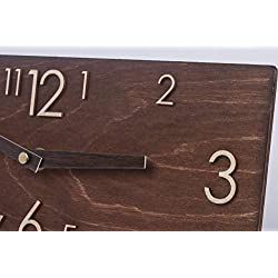 Wooden Wall Clock - Handmade Dark Brown Wall Clock - Rectangular Wall Clock - Modern Wall Clock - Scandinavian Clock - Wall Decor
