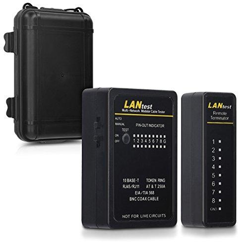 kwmobile Netzwerkkabel Kabeltester mit Remote-Einheit - für z. B. RJ45 RJ11 ISDN LAN Netzwerk Ethernet Kabel und weitere - 2 Verschiedene Scan Modi