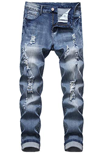 FREDD MARSHALL Men's Blue Ripped Destroyed Distressed Slim Fit Stretch Fashion Denim Jeans Pants 75107