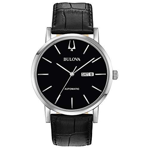 Bulova Classic Automatic Mens Stainless Steel with Black Leather Strap, Silver-Tone (Model: 96C131)