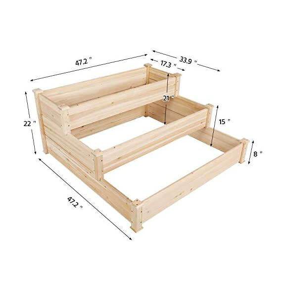 YAHEETECH 3 Tier Raised Garden Bed Wooden Elevated Garden Bed Kit for Vegetables Outdoor Indoor Solid Wood 49 x 49 x 21… 2 Useful & Practical – With this helpful planter, you can cultivate plants like vegetable, flowers, herbs in your patio, yard, garden and greenhouse, and make them more convenient to manage. 3 TIERS DESIGN: This elevated planter provides 3 growing areas for different plants or planting methods. Each tier is connected with wood plugs, which allows this 3-tier garden bed to be easily transformed into 3 single separate growing beds in different sizes if needed. Customizable design – This elevated planter provides 3 growing areas for different plants or planting methods. Each tier is connected with wood plugs, which allows this 3-tier garden bed to be easily transformed into 3 separate growing beds in different sizes if needed.