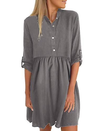 YOINS Damen Kleider Knielang Blusenkleid Elegant Longshirt V-Ausschnitt 1/2 Ärmel Hemdkleid Brautkleid mit Knopfen