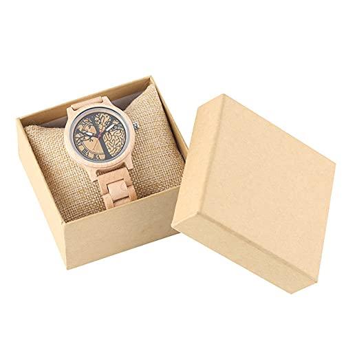 CAIDAI&YL Reloj de Madera de Arce para Mujer con Estampado de árbol de la Vida, Relojes de Madera para Mujer, Reloj de Pulsera con Banda de Madera para Mujer, Regalos Calientes, con Caja