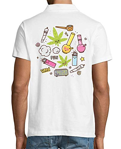 420 Weed Lighter Joint Pipe Fun Men's Polo T-Shirt Small Wh