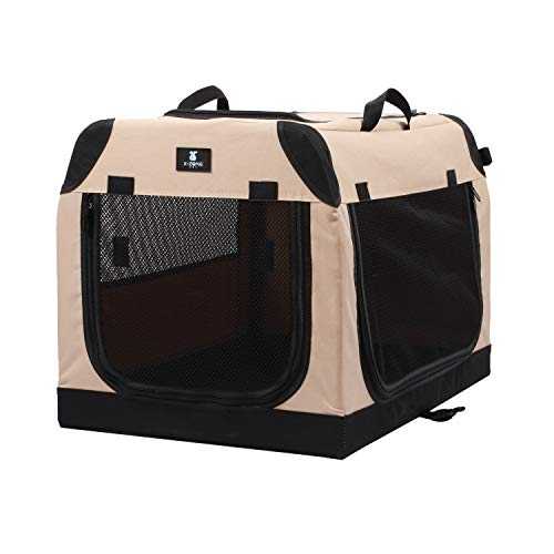 X-ZONE PET Foldable Soft Dog Crate 3-Door Pet Kennels for Dogs and Cats Sturdy Durable Pet Crate for Travel,Indoor&Outdoor Use Multiple Sizes (32-Inch)