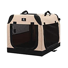 X-ZONE PET Foldable Soft Dog Crate 3-Door Pet Kennels for Dogs and Cats Sturdy Durable Pet Crate for Travel,Indoor&Outdoor Use Multiple Sizes