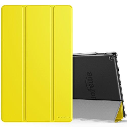 MoKo Smart Cover per Nuovo Amazon Fire HD 10 Tablet (Modello di 9ª Gen 2019 & 7ª Gen 2017) - Custodia Sottile Leggera con Retro Semi-trasparente Rigido per Nuovo Amazon Fire HD 10 - Giallo di Limone