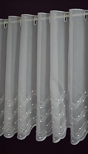 Albani Rideau de bistrot en Forme de Tringle /à Rideaux en Tissu Jacquard Blanc Hauteur 60 cm Largeur 10 cm