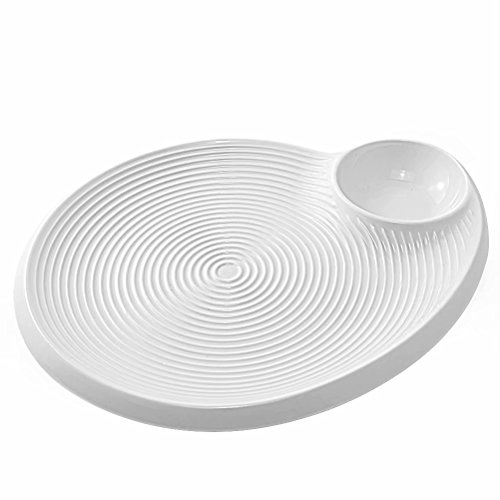 Sushi Plate, 8 Inches, 77L Ceramic Sushi Plate with Dipping Saucer - Dumpling Serving Dish, Snack Plate with Vinegar Dish, White