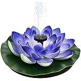 Solar Lotus Brunnen, Solarbrunnenpumpe, Teichpumpe Garten Springbrunnen Schwimmende Seerose Teich Solarpumpe Blumen Wasserpumpe Wasserbrunnen für Gartenteich Pool Landschaft Deko