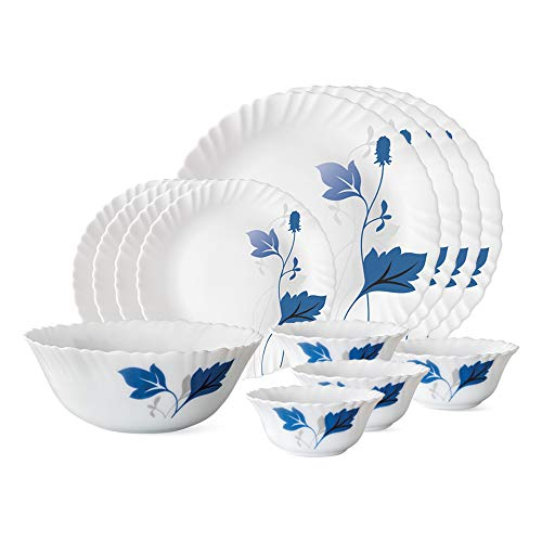 Larah by Borosil Ageria Opalware Dinner Set, 13-Pieces, White