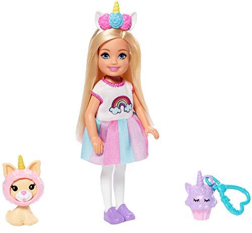 Barbie GHV70 - Club Chelsea Puppe (blond) im Einhornkostüm, mit Kätzchen und Zubehör, Spielzeug ab 3 Jahren