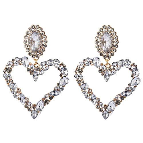 SHAOKAO Pendientes brillantes de cristal arcoíris con forma de corazón grande y colgante de babero, pendientes de declaración para mujer, joyería de moda